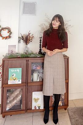 crossed check, skirt [울30]