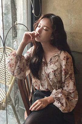 flower chiffon, blouse