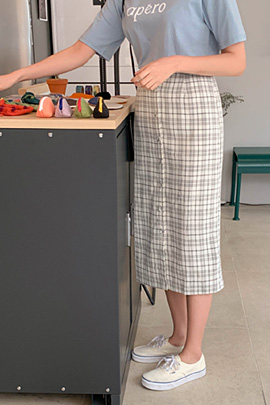 high waist check long skirt