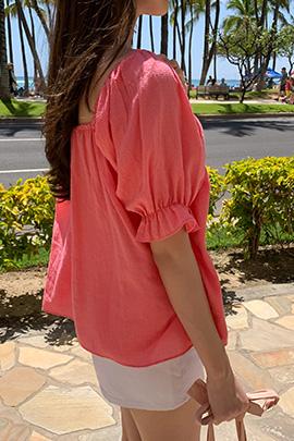 square-neck check blouse