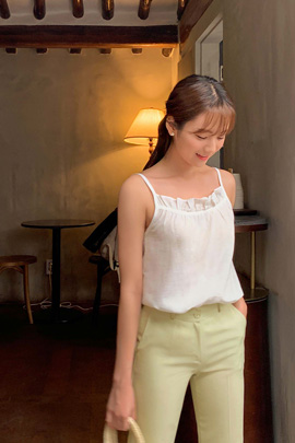 see-through frill sleeveless
