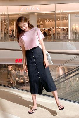 Button Linen Long Skirt
