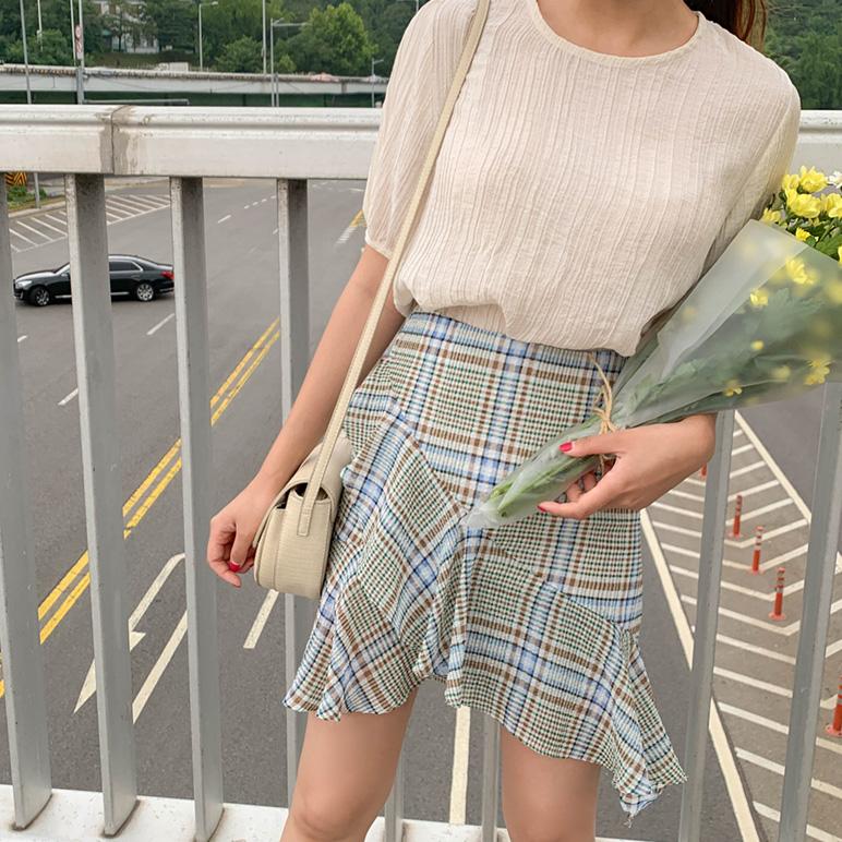 Check Color Skirt
