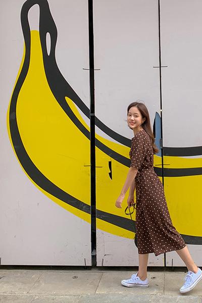 dot point long dress