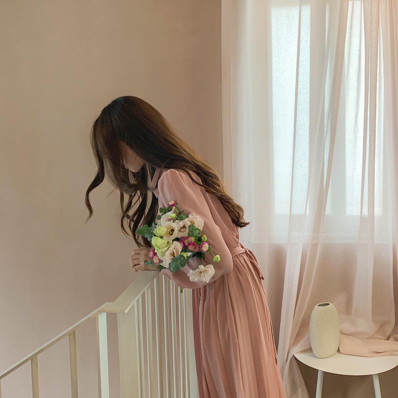 Cozy pleats long dress