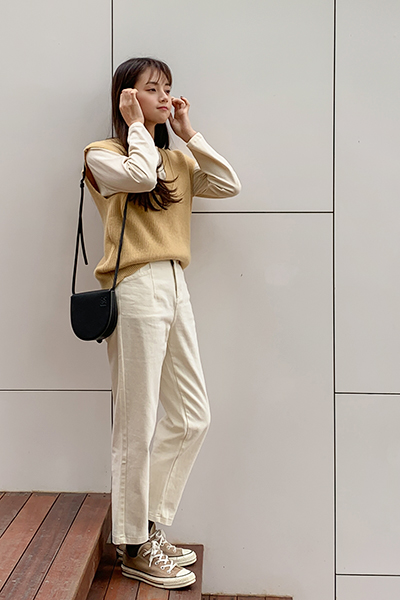 High waist cotton pants