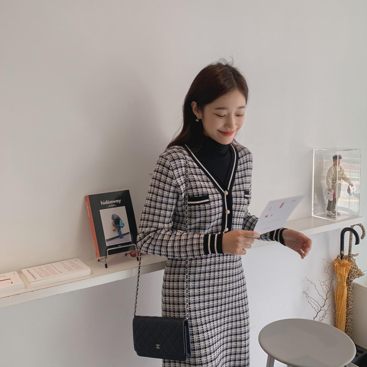 Tweed knit one piece