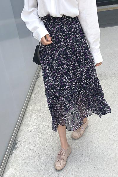floral frill banding skirt