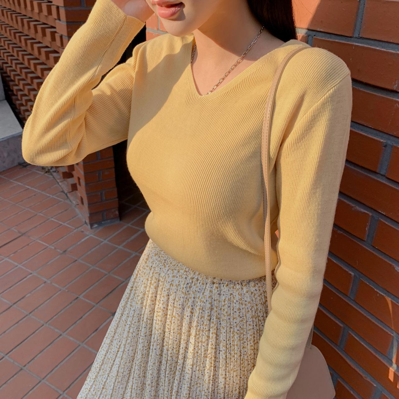 V neck point knit