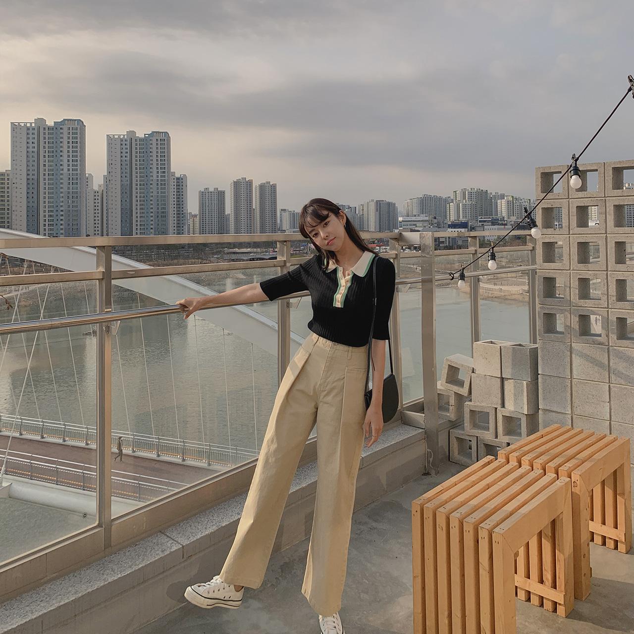 High waist cotton pants