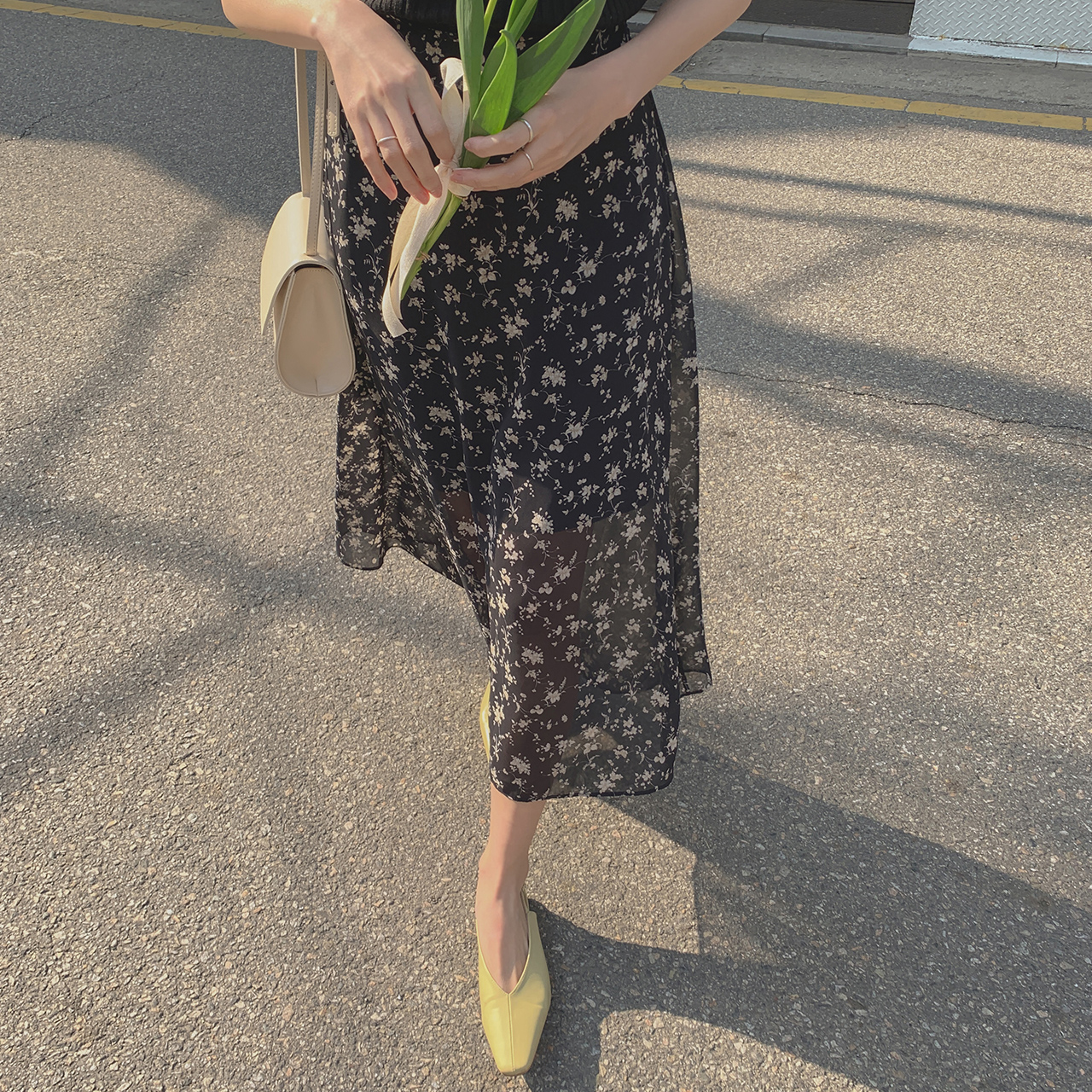 A line floral skirt