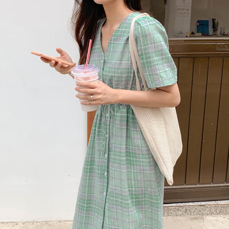 pastel string Check Dress