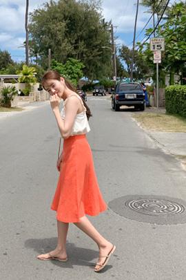 linen flare skirt