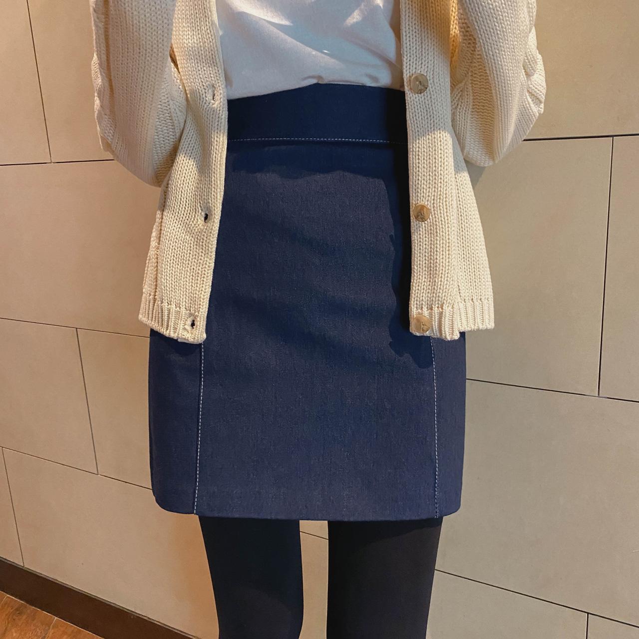 H line stitch mini skirt