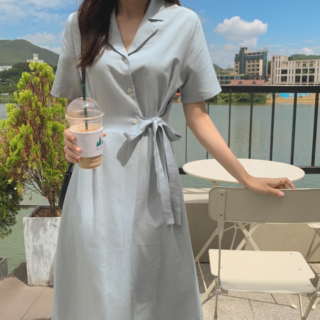 Mocca Ribbon Dress (Linen)